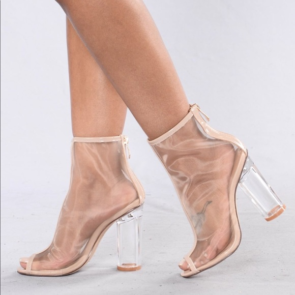 40a5fda5e65 Nude Mesh Clear Block Heel Booties